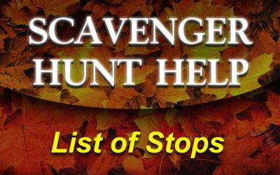 Lost? List of Scavenger Hunt Stops